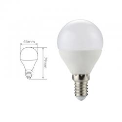 Esférica LED 420 Lm, 6.000 ºK. Medidas.