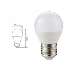 Esférica E27 LED 420 Lm, 6.000 ºK. Medidas.