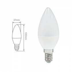 Vela LED 420 Lm, 6.000 ºK. Medidas.